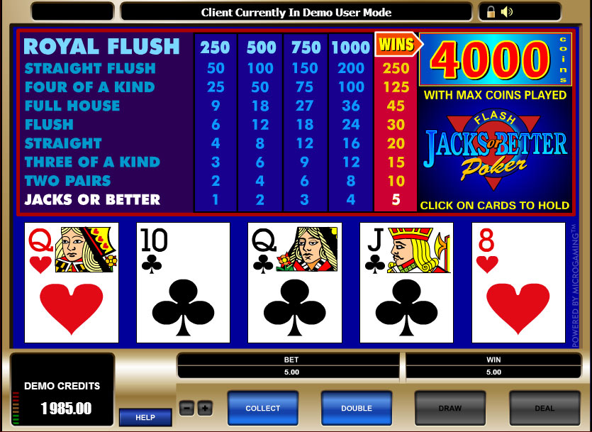 Video Poker - Jack Or Better Free